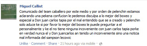 Pelenchín pide disculpas a LMB a través de Miguelito Callist
