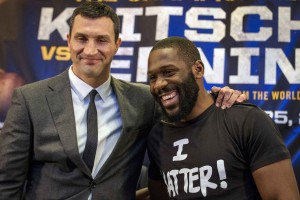 Unified Heavyweight World Champion Wladimir Klitschko (L) and challenger Bryant Jennings pose together following a news conference to announce their upcoming bout at Madison Square Garden in New York