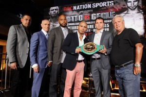 NEW YORK, NY - APRIL 16:  Michael Yormark, Miguel Cotto, Daniel Geales and Gary Shaw attend the Roc Nation Sports & Miguel Cotto Promotions presentation of Miguel Cotto vs. Daniel Geale on June 6 from Barclays Center in Brooklyn live on HBO: Official Press Conference at The 40/40 Club on April 16, 2015 in New York City.  (Photo by Craig Barritt/Getty Images for Roc Nation)