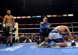 CARSON, CA - SEPTEMBER 27:  Shane Mosley waits in the corner as the referee gives a ten count to  Ricardo Mayorga of Nicaragua in the 12th round during their junior middleweight bout at the Home Depot Center on September 27, 2008 in Carson, California.  (Photo by Harry How/Getty Images)