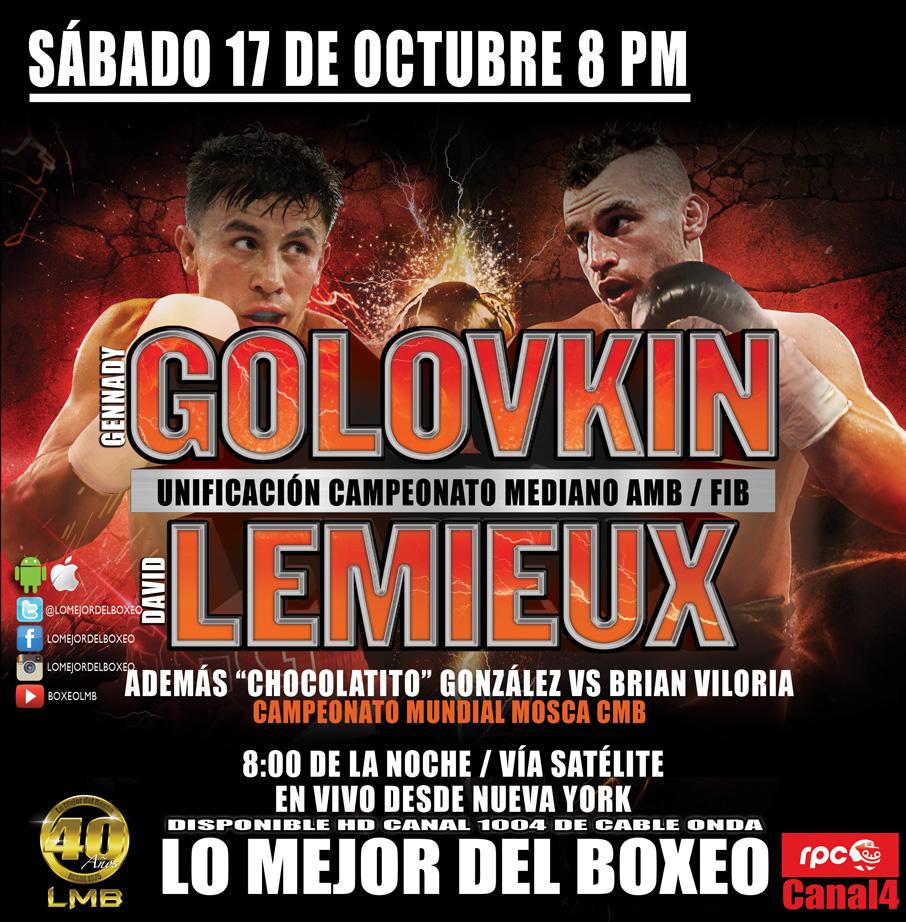 Nombrados oficiales para Golovkin vs. Lemieux