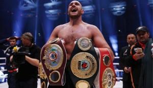 Boxing - Wladimir Klitschko v Tyson Fury WBA, IBF & WBO Heavyweight Title's - Esprit Arena, Dusseldorf, Germany - 28/11/15 Tyson Fury celebrates winning the fight Action Images via Reuters / Lee Smith Livepic