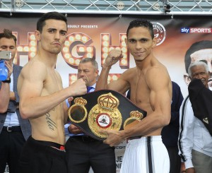 HIGH STAKES PROMOTION WEIGH IN CATHEDRAL SQUARE,MANCHESTER PIC;LAWRENCE LUSTIG WBA LIGHWEIGHT TITLE CHALLENGER ANTHONY CROLLA AND CHAMPION DARLEYS PEREZ WEIGH IN
