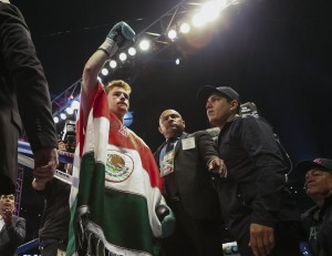 May 9, 2015; Houston, TX, USA; Canelo Alvarez waves to the crowd before a super welterweight bout against James Kirkland (not pictured) at Minute Maid Park. Alvarez defeated Kirkland with a knockout in the third round. Mandatory Credit: Troy Taormina-USA TODAY Sports