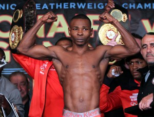 """April 12, 2013, New York,NY  ---  2012 Fighter of the Year/WBO World Jr. Featherweight champion Nonito """"Filipino Flash"""" Donaire and undefeated WBA World Super Bantamweight champion Guillermo Rigondeaux(pictured) weigh in (Donaire 121.6 lbs, Rigondeaux 121.6 lbs ) for their upcoming world championship battle,  Saturday, April 13 at the historic Radio City Music Hall in New York City and televised live on HBO World Championship Boxing®.  Promoted by Top Rank, in association with Caribe Promotions, Tecate and Madison Square Garden, tickets priced at $300, $150, $75 and $35, are available for purchase at the Radio City Music Hall Box Office, Madison Square Garden Box Office, Ticketmaster charge by phone (866-858-0008) and online at www.ticketmaster.com,  www.radiocity.com and www.thegarden.com.     --- Photo Credit : Chris Farina - Top Rank (no other credit allowed) copyright 2013"""