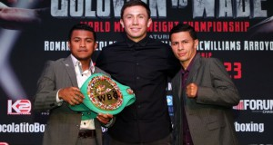 """Feb. 16, 2016 , Los Angeles,Ca. ---  Boxing Superstar and Unified World Middleweight Champion Gennady """"GGG""""Golovkin, 34-0 (31KO's) and Undefeated Mandatory Challenger Dominic """"Lights Out"""" Wade, 18-0 (12KO's) and their teams will take part in the UNDEFEATED Cross-Country Press Tour to formally announce their showdown set for Saturday,April 23 at the Fabulous Forum.     Joining Golovkin and Wade at the Los Angeles PressConference will be Consensus #1 Pound-For-Pound Fighter and WBC Flyweight WorldChampion Roman """"Chocolatito"""" Gonzalez, 44-0 (38KO's) andand his challenger, World Ranked Contender McWilliamsArroyo, 16-2 (14KO's) who will battle in the co-feature on April 23.     Both bouts will be televised Live on HBO World Championship Boxing®beginning at 10:00 p.m. ET/PT.    Tickets for the April 23rd event priced at $400, $300, $200,$100, $60 and $30, are now on-sale through Ticketmaster (Ticketmaster.com, 1-800-745-3000).    Golovkin vs. Wade is promoted by K2 Promotions, GGGPromotions and in association with TGBPromotions. Gonzalez vs. McWilliams is presented by K2 Promotions in association with Teiken Promotions and PRBest Boxing Promotions.  --- Photo Credit : Chris Farina - K2 Promotions   copyright 2016 ===== SOCIAL MEDIA: For moreinformation, visit www.K2Promos.com, www.GGGBoxing.com, www.TGBPromotions.com,  www.FabulousForum.com and www.HBO.com/boxing.  Follow on Twitter at Gennady Golovkin @GGGBoxing,Dominic Wade @_DomoWade,  Roman Gonzalez @chocolatitobox, TomLoeffler/K2 Promotions @TomLoeffler1, TGBPromotions @TGBpromotions, the Forum @theForum and HBO Boxing @HBOBoxingand become a fan on Facebook www.facebook.com/GGGBoxing, www.facebook.com/TheForum and www.facebook.com/HBOBoxing.  Use the hashtags #GolovkinWade and #GomzalezArroyoto join the conversations on social media."""