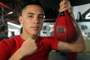 """March 14, 2013, Los Angeles,Calif.  --- """"VIVA MEXICO"""" ---   Two-time Mexican Olympian Oscar Valdez works out during media day in Los Angeles for his upcoming feature fight on the undercard of the Timothy """"The Desert Storm"""" Bradley Jr.  vs  Ruslan Provodnikov.   Promoted by Top Rank®, in association with Banner Promotions, Tecate, Bradley-Provodnikov will take place, Saturday, March 16 at The Home Depot Center in Carson,Calif. and will be televised live on HBO World Championship Boxing®. --- Photo Credit : Chris Farina - Top Rank (no other credit allowed) copyright 2013"""