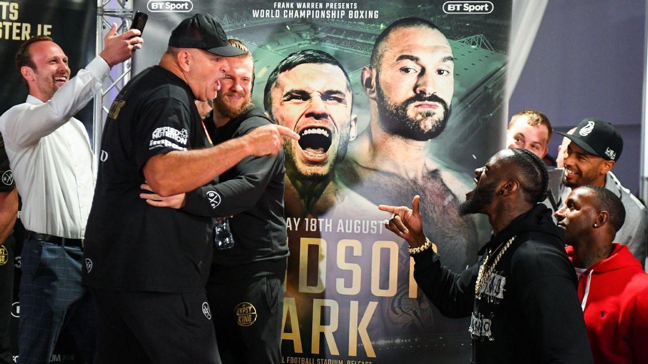 Deontay Wilder invade pesaje de Tyson Fury e intercambia insultos