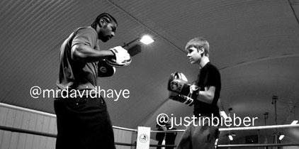 Justin Bieber se sube al ring con el Campeón Mundial de Peso Pesado David Haye