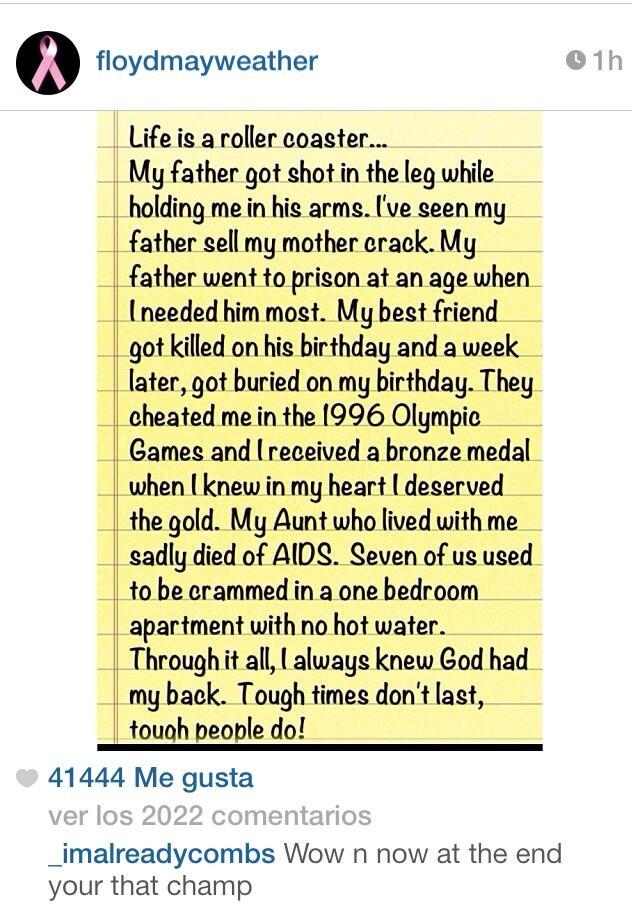 Mayweather publica nota sobre momentos difíciles de su vida