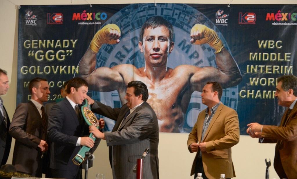 Golovkin recibe cinto del CMB en México