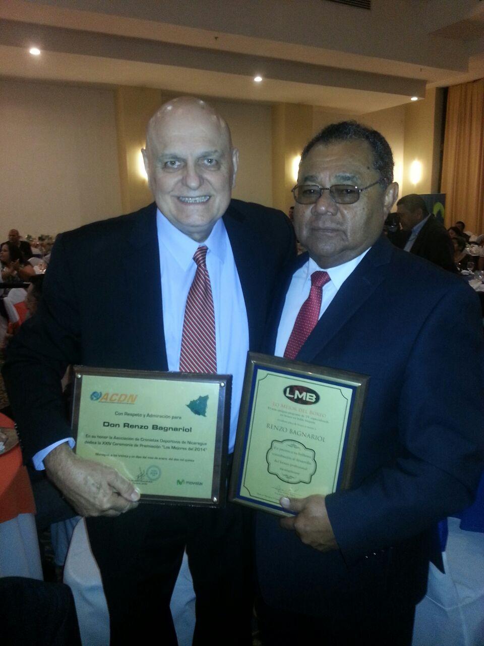 Renzo Bagnariol fue homenajeado junto a los Mejores de 2014 en Nicaragua