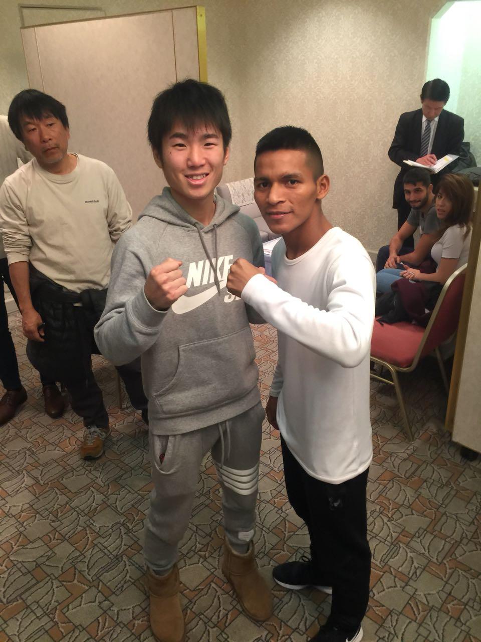 Pedroza en entrenamiento público en Japón