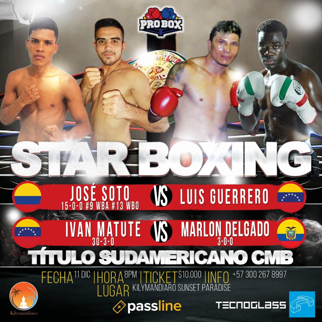 Dos peleas de título sudamericano en Barranquilla